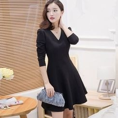 Lovebirds - Long-Sleeve V-Neck A-Line Dress
