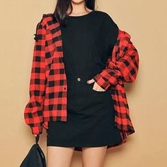 Fashion Street - Hooded Plaid Shirt
