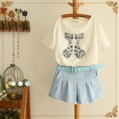 Angel Love - Set: Cat Print T-Shirt + Shorts