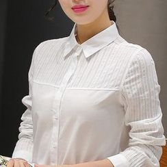 Eferu - Stripe Panel Long-Sleeve Shirt