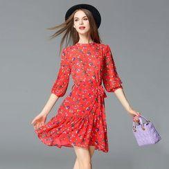 Seagrass - 3/4-Sleeve Printed Chiffon Dress