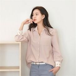 Styleberry - Printed-Cuff Pocket-Front Shirt