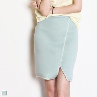 MAGJAY - Elastic-Waist Slit-Front Pencil Skirt