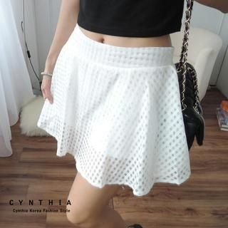 CYNTHIA - Inset Shorts Check Tulle Skirt