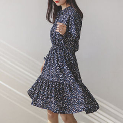JUSTONE - Tie-Neck Gathered-Waist Floral Dress