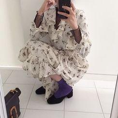 DISCOSALON - Frilled-Trim Floral Print Long Dress