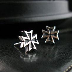 Sterlingworth - Hand Made Tinted Cross Single Stud Earring
