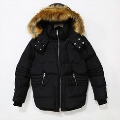 Mr. Cai - Furry-Trim Hooded Padded Zip Jacket