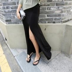 PIPPIN - Band-Waist Slit-Side Long Skirt