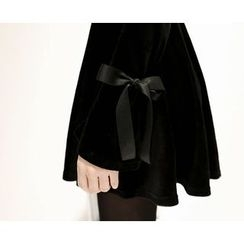 Marlangrouge - Cutout-Shoulder A-Line Velvet Minidress