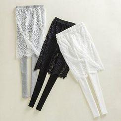 Nanta - Legging Inset Lace Midi Skirt