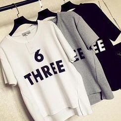 Eva Fashion - Lettering Dip-Back T-Shirt