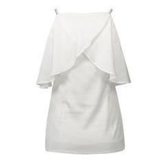 LIVA GIRL - Ruffle Trim Cut Out Shoulder Elbow Sleeve Chiffon Top