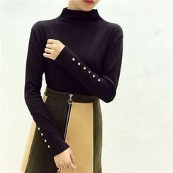 Octavia - Embellished High-Neck Long-Sleeve T-Shirt