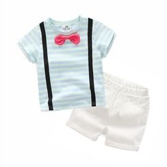 Seashells Kids - Kids Set : Bow Short-Sleeve T-shirt + Shorts