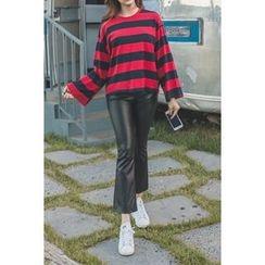 migunstyle - Faux-Leather Boot-Cut Pants