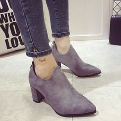 Crystella - Block Heel Pointy Ankle Boots