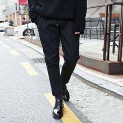 TOMONARI - Drawstring-Waist Brushed-Fleece Lined Tapered Pants