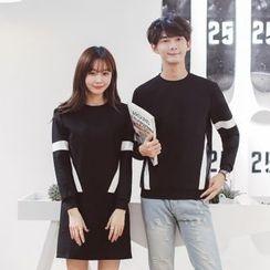 INUS - Couple Matching Color Block Sweatshirt / Long-Sleeve Pullover Dress
