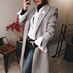 DABAGIRL - One-Button Wool Blend Long Coat with Brooch