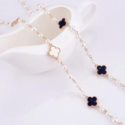 Best Jewellery - Four Leaf-Clover Faux Pearl Long Necklace