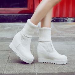 錦洋鞋業 - 針織拼接內增高厚底短靴