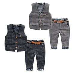 Kido - Kids Set: Check Vest + Check Pants + Belt