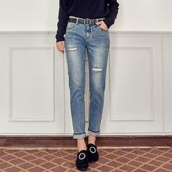 Seoul Fashion - Distressed Washed Slim-Fit Jeans