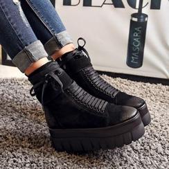 錦洋鞋業 - 厚底繫帶短靴