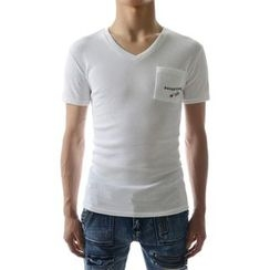 TheLees - Short-Sleeve Pocket-Front V-Neck T-Shirt