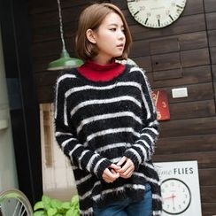 OrangeBear - Dip-Back Striped Furry-Knit Top