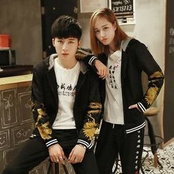 Evolu Fashion - Couple Matching Dragon Print Fleece Lined Hooded Jacket