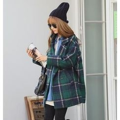 REDOPIN - Wool Blend Plaid Coat
