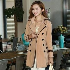 Flower Creek - Double Breasted Contrast-Trim Trench Coat