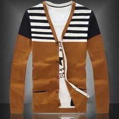 Ekinbrown - Striped Panel Cardigan