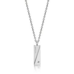 Kenny & co. - Dimensional Cut Steel Pendant Necklace with Crystal