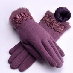 RGLT Scarves - Wool Blend Lace Panel Gloves