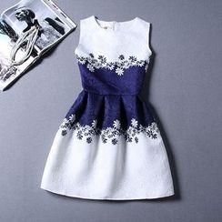 Emeline - Floral Print Colour Block Sleeveless Dress