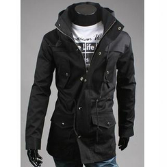 CRYX - Stand-Collar Drawstring-Waist Hooded Jacket