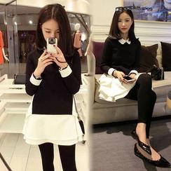 EFO - 假兩件長袖拼接連衣裙