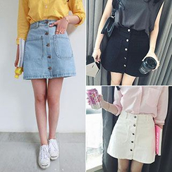 Dream Bear - Buttoned Denim Mini Skirt