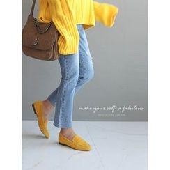 STYLEBYYAM - Distressed Straight-Cut Jeans