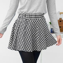 59 Seconds - Ruffled Houndstooth Mini Skirt