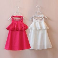 Seashells Kids - Kids Embroidered Ruffle Trim Halter Dress