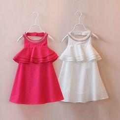 贝壳童装 - 儿童刺绣荷叶边挂脖连衣裙