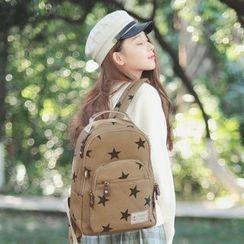 SUPER LOVER - Canvas Star Printed Backpack