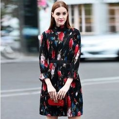 Elabo - Floral Print Frill Collar 3/4 Sleeve A-Line Dress