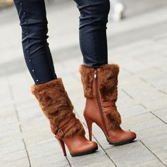 SO Central - Faux Fur Trim Belted Boots