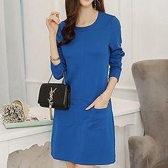 Q.C.T - Plain Long-Sleeve Dress