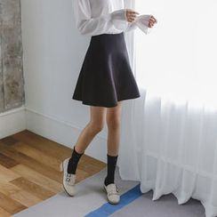 JUSTONE - Flared Knit A-Line Mini Skirt